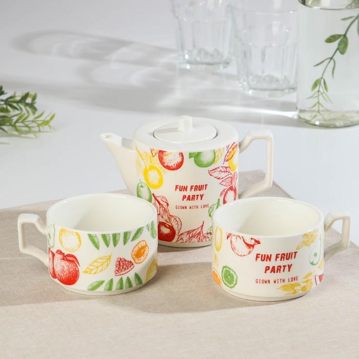 Набор чайный «Фрэш», 3 предмета: чайник 480 мл, 15×9×9 см, 2 кружки 280 мл, рисунок МИКС - фото 241381