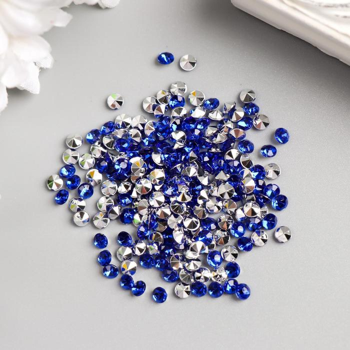 "Декор для творчества пластик ""Стразы алмаз. Синие"" набор 200 шт d=0,4 см - фото 415739"