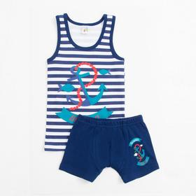 Комплект (трусы, майка) для мальчика, цвет синий, рост 98 см