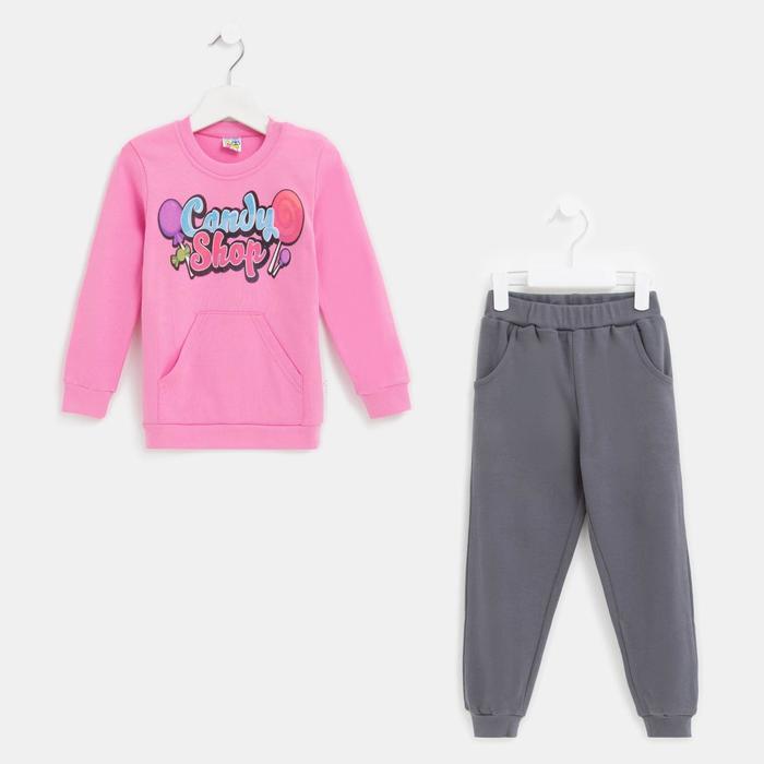 Комплект для девочки, цвет розовый, рост 92 см - фото 1953331