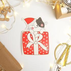 "Postcard - envelope shaped ""New year's cat"", 13.2 x 23.9 cm"
