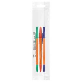 Набор ручек шариковых микс 3 цвета «Стамм», «Оптима» ORANGE, узел 1.0 мм, чернила: синие, красные, зелёные, европодвес