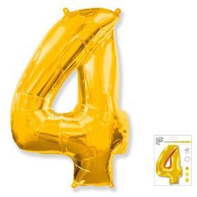 """Шар фольгированный 40"""" «Цифра 4», цвет золотой"""