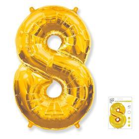 """Шар фольгированный 40"""" «Цифра 8», цвет золотой"""