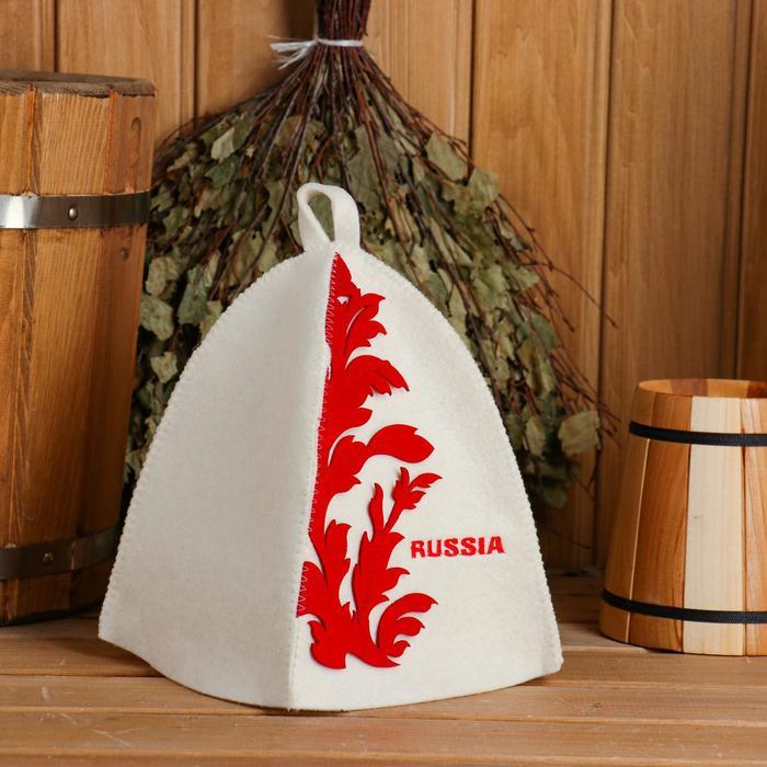 Шапка для бани и сауны с принтом RUSSIA, фетр, белая