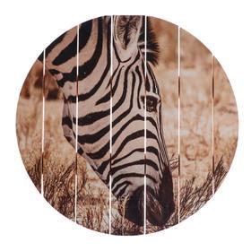 "Painting on a tree ""Zebra"" 40x40 cm"