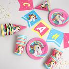 """Set of paper tableware """"Unicorn"""" pearl (6 plates, 1 garland, 6 glasses, 6 caps), without box"""