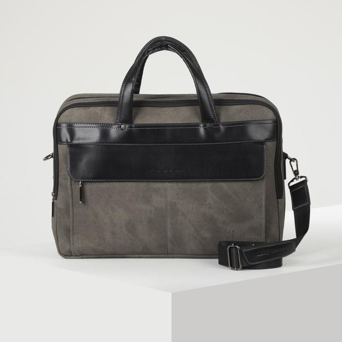 Сумка деловая, отдел на молнии, наружный карман, длинный ремень, цвет хаки - фото 752920