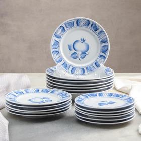 Набор тарелок «Гжельские мотивы», 18 предметов
