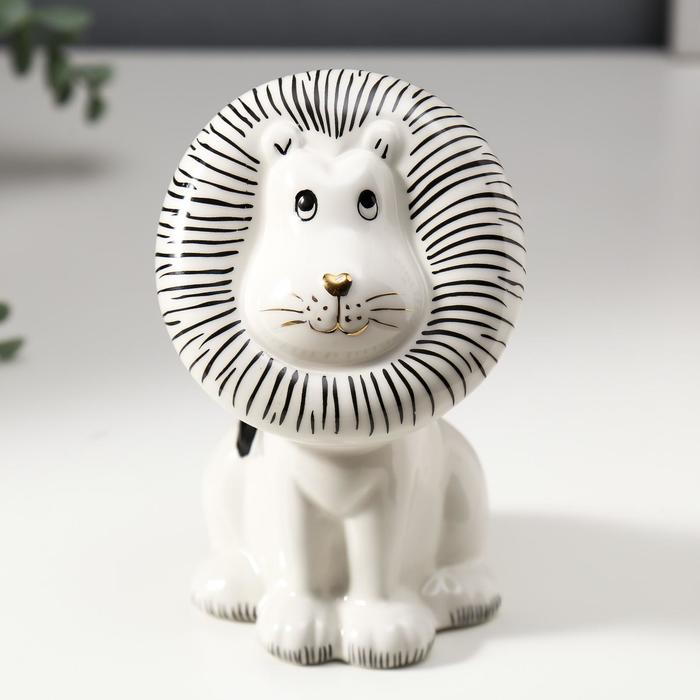 "Сувенир керамика ""Львёнок"" белый с чёрным 13,8х8,3х8,8 см"