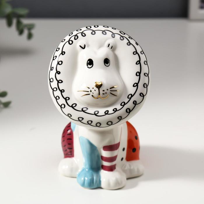 """Сувенир керамика """"Львёнок"""" цветные пятнышки 13,8х8,3х8,8 см"""