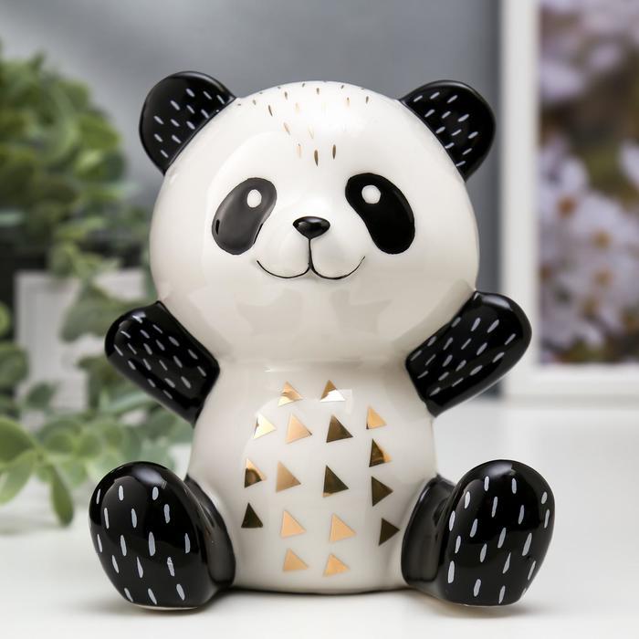 "Сувенир керамика ""Весёлая панда"" бело-чёрный с золотом 13х9,6х11 см"