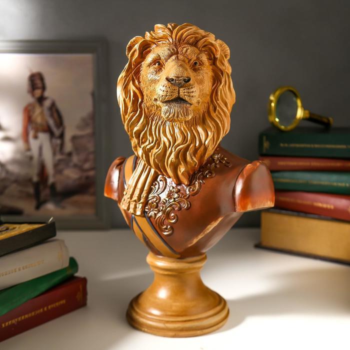 "Сувенир полистоун ""Бюст льва-полководца"" под дерево 34х15,5х22 см"