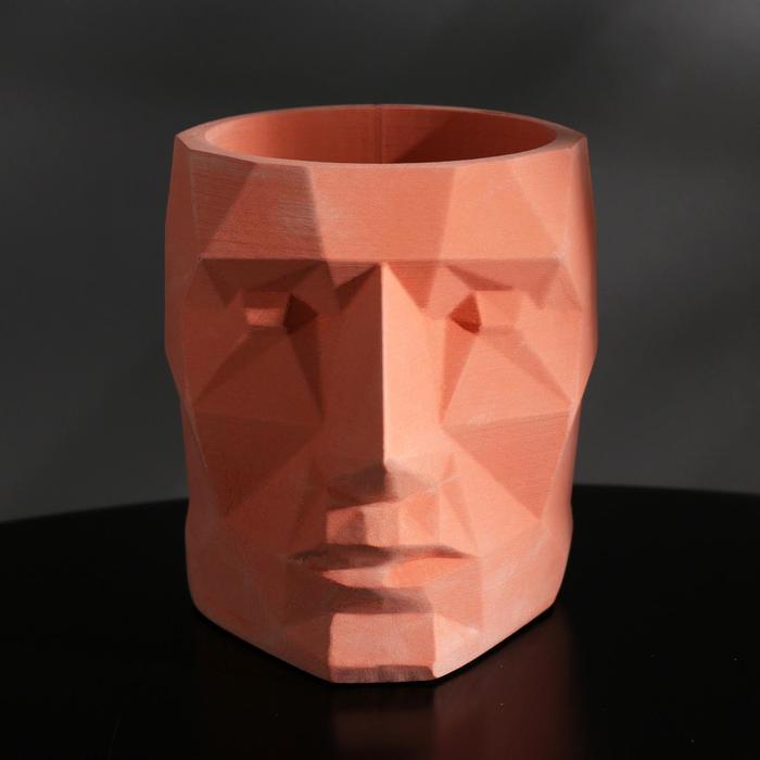 Кашпо полигональное из гипса «Голова», цвет розовый, 7.5 × 9 см