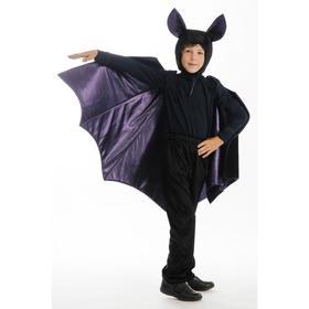 Карнавальный костюм «Летучая мышь», брюки, фуфайка, крылья, шапка, р. 28, рост 110 см