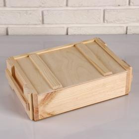 """Ящик деревянный 30×21×9 см подарочный """"Военный бокс с крышкой"""", МАССИВ"""