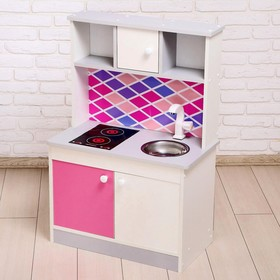 """Набор игровой мебели """"Детская кухня Sitstep"""" бел/сер корпус, фасады бел/мал, фартук ромб"""