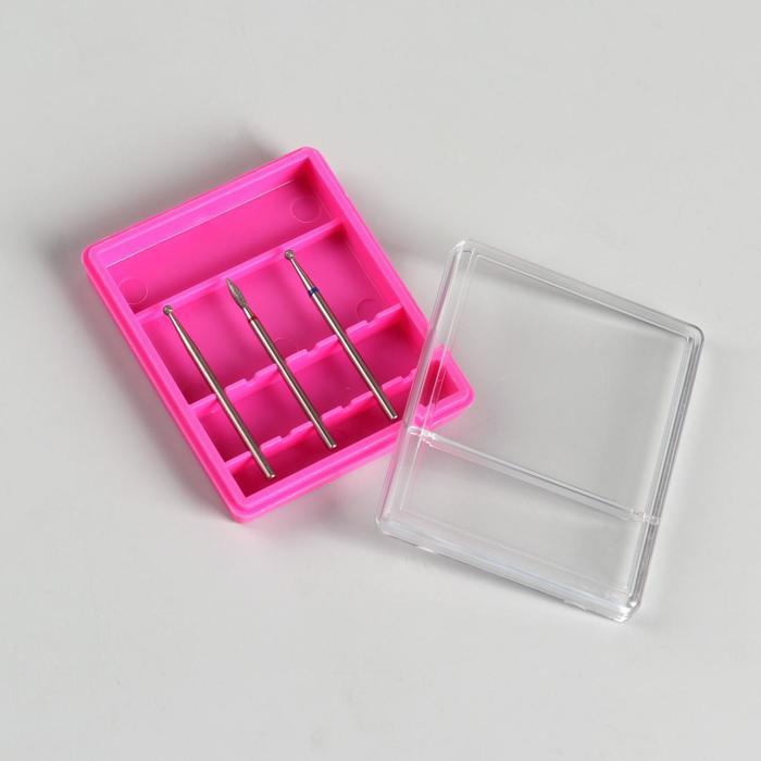 Органайзер для фрез, 7 × 5,8 см, 6 отделений, цвет розовый