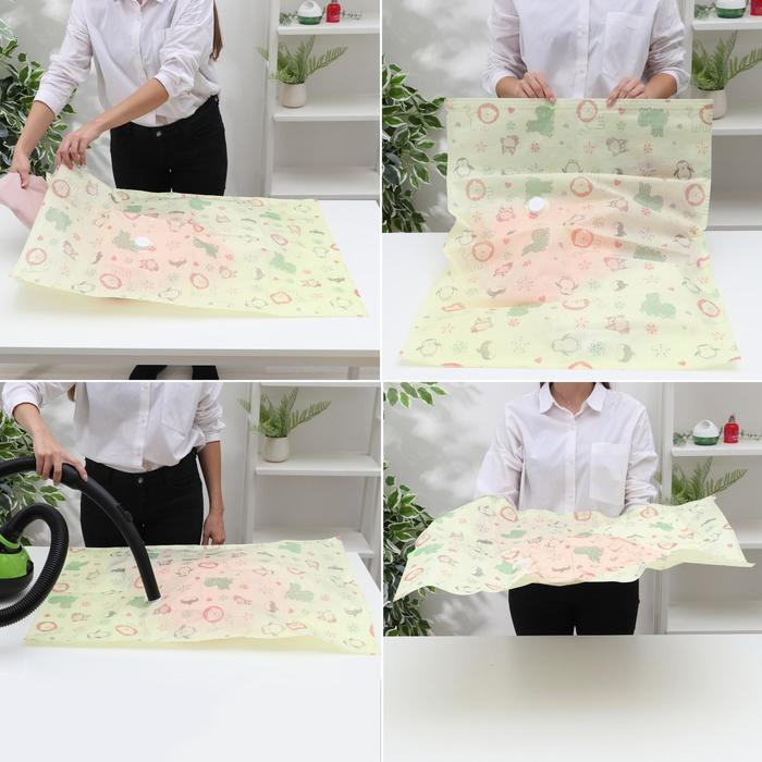 Вакуумный пакет для хранения вещей «Зверюшки», 60×80 см, толщина 0,12 см - фото 4640115