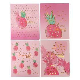 Тетрадь 48 листов в клетку Pink Pineapple, обложка мелованный картон, тиснение голографической фольгой, блок офсет, МИКС