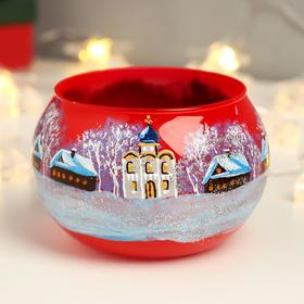 "Candle holder ""Winter landscapes"" ball red mix, hand-painted"