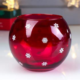 "Candle holder ""Snowflakes round dance"" raspberry, decal"