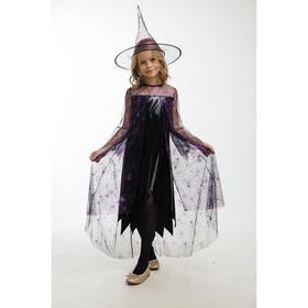 Карнавальный костюм «Ведьма в фиолетовом», платье, головной убор, пояс, р. 28, рост 110 см