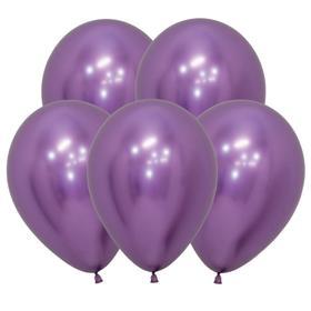"""Шар латексный 12"""" «Зеркальный», Reflex, набор 12 шт., цвет фиолетовый"""