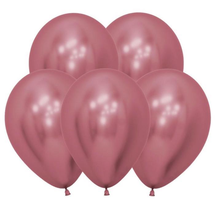 """Шар латексный 12"""" «Зеркальный», Reflex, набор 12 шт., цвет розовый - фото 461213"""