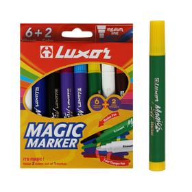 """Фломастеры 6+2 цветов Luxor """"Magic"""" меняющие цвет, 8 штук, в картонной коробке, европодвес"""