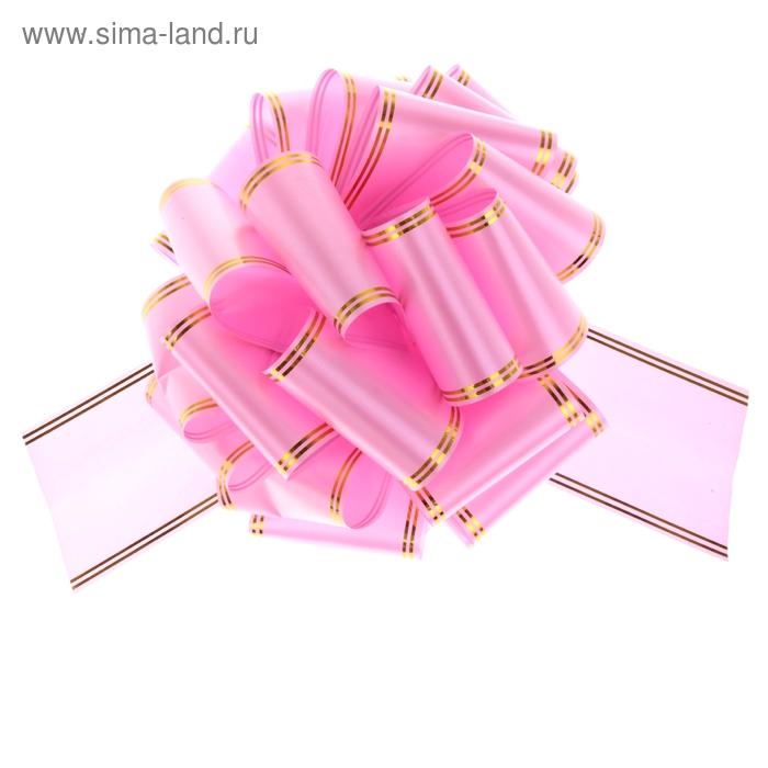 """Бант-шар № 10 """"Золотые полосы"""", цвет розовый"""