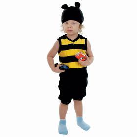 Карнавальный костюм «Шмель», велюр, комбинезон, шапка, 1,5-3 г, рост 98 см