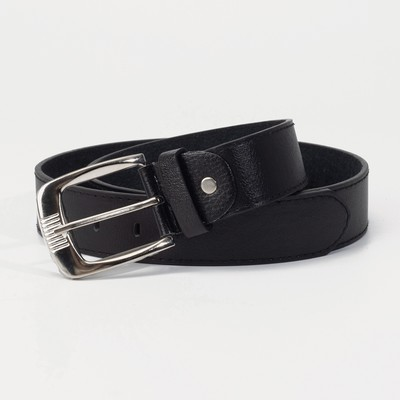Belt men 07-01-02-01 Anton, 3.6*0.5*110cm, smooth, screw, metal buckle, black