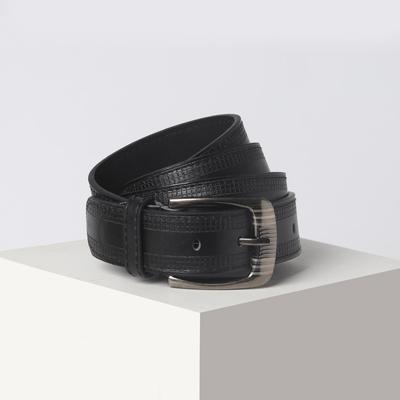 Belt men 07-01-03-01 August, 3.6*0.5*110cm, 2 strings, screw, metal buckle, black