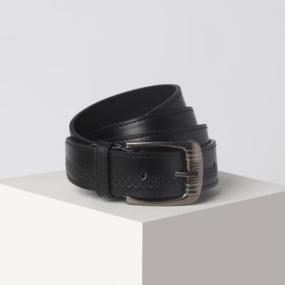 Belt men 07-01-03-01 agate, 3.6*0.5*110cm, pattern, screw, buckle metal, black