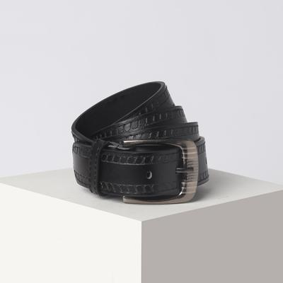 Belt men 07-01-03-01 Excitement, 3.6*0.5*110cm, 2 patterns, screw, buckle metal, black
