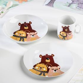 Набор посуды «Семья мишек», 3 предмета: кружка, тарелка, тарелка глубокая