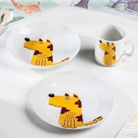 "Набор посуды 3 предмета ""Пёс"": кружка, тарелка, тарелка глуб."