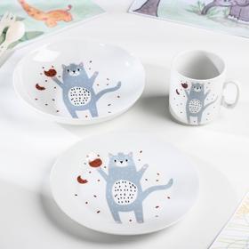 Набор посуды «Кошка в крошках», 3 предмета: кружка, тарелка, тарелка глубокая