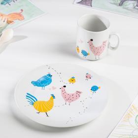 "Набор посуды 2 предмета ""Курятник"": кружка, тарелка"