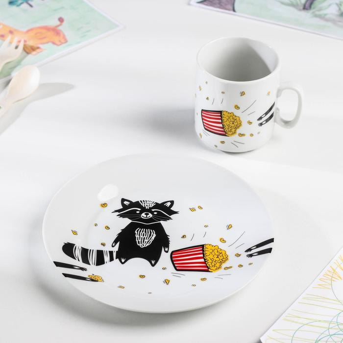 Набор посуды «Енот», 2 предмета: кружка, тарелка - фото 495823