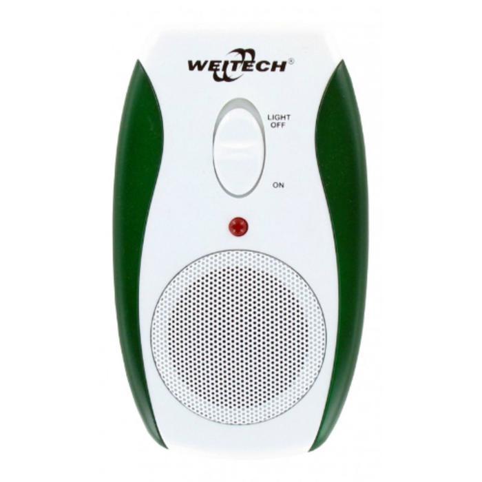 Отпугиватель грызунов и насекомых Weitech WK-0190, ультразвуковой, до 90 м2, от сети, бело-зелёный