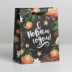 Пакет крафтовый вертикальный «Новогодние мандарины», MS 18 × 23 × 10 см