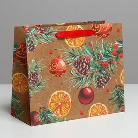 Пакет крафтовый горизонтальный «Новогодние шарики», ML 27 × 23 × 11.5 см