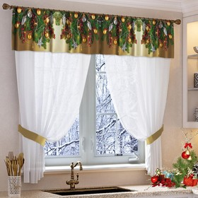 Set of curtains for the kitchen Favorite holiday tulle 294x160, lambrequin 290x40, hooks 70x10cm