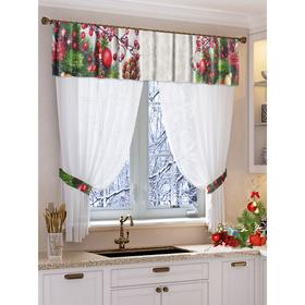 Set of curtains for the kitchen Snowflakes tulle 294x160cm, lambrequin 290x40cm, hooks 70x10cm, PE
