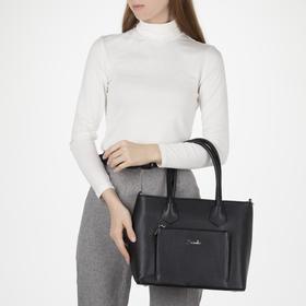 Сумка женская, 3 отдела на молнии, наружный карман, длинный ремень, цвет чёрный - фото 52380