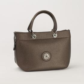 Сумка женская, отдел на молнии, наружный карман, длинный ремень, цвет бронзовый