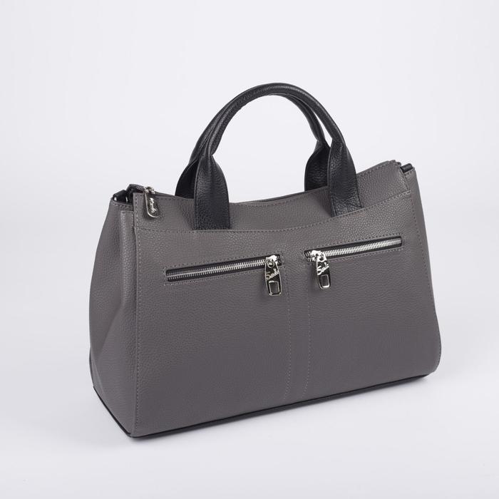 Сумка женская, 3 отдела на молнии, 3 наружных кармана, длинный ремень, цвет тёмно-серый - фото 52417