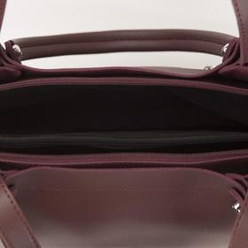 Сумка женская, 3 отдела на молнии, наружный карман, длинный ремень, цвет бордовый - фото 52503